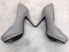 db953df60a08 Michaelangelo David s Bridal Silver Sparkle PUMPS HEELS Wedding Bride Shoes  9