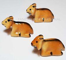 Set of 3 Miniature Ceramic Goat Figurines * Cute Figure Statue Animal Ornament