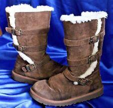 Ugg Australia Boots Girls 5 Women 7 Chocolate Brown 1001520 Zipper Buckle Maddi
