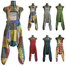 CLASSIC HIPPY BOHO PATCHWORK DUNGAREES (SIZES S M L XL) JUMPSUIT BAGGY FAIRTRADE