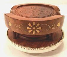 Set/6 Vtg Carved Teak Wood Round Coasters & Holder Aluminum Gold Inlaid Design