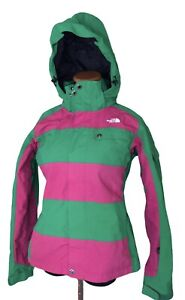 The North Face Womens Cryptic Striped Green Pink Ski Snowboard Jacket Size Small