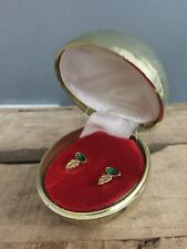 Vintage Faux Emerald & Gold Art Deco Earrings Christmas Bauble Jewellery Box