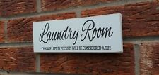 Laundry Room Fun Plaque Sign Shabby Vintage Chic Wooden Plaque