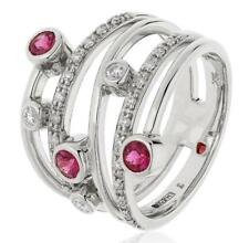 0.70ct Round Brilliant Ruby & F VS Diamond Multi-Band Ring in 18ct White Gold