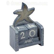 Wooden Starfish Perpetual Calendar - Shabby Chic Wooden Calendar - Blue Seashore