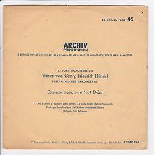 """HÄNDEL Georg Friedrich Vinyle 45 tours EP 7"""" GRAVE ALLEGRO Lehmann ARCHIV 37 040"""