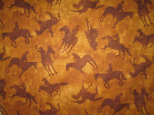HORSES WESTERN COWBOY TAN BROWN COTTON FABRIC BTHY