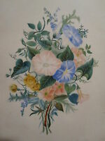ANTIQUE 19th CENTURY AMERICAN FOLK ART PAINTING FRAME FLOWER FLORAL THEOREM