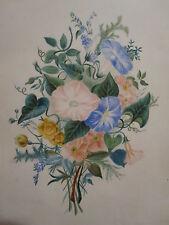 ANTIQUE 19th CENTURY AMERICAN FOLK ART PAINTING FRAME FLOWER FLORAL THEOREM