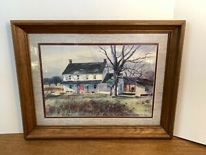 "Ranulph Bye Vintage Watercolor COUNTRY HOUSE Framed Print 19x25"" Very Nice"