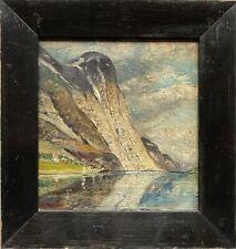 Ölbild Fjordlandschaft Norwegen + schwarzer Antiker Bilderahmen Holz