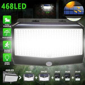 468LED Solar Powered PIR Motion Lights Wall Security Sensor Garden Outdoor Lamp