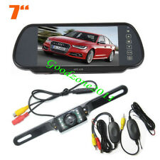 "AU Wireless 7 LED IR Reverse Camera + 7"" LCD Monitor Car Rear View Mirror Kit"