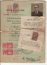 WWII JUDAICA 1941 Spanish Stranger Pass to Jewish Person, Permit for Portugal