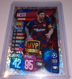 2019-20 Topps LIONEL MESSI Match Attax Silver Pulsar Refractor FC Barcelona MINT