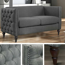 Gray Linen Loveseat Button Tufted Living Room Wood Furniture Settee Sofa Chair