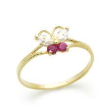 Women 14K Gold Ring Yellow Gold Ring Red & White CZ Butterfly