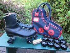Vintage Riedell Leather Roller Skates Size 12 + 8 Kryptos Wheels with Carry Bag