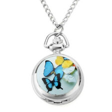 Classic Women Kids Girls Butterfly Quartz Pendant Chain Pocket Watch Necklace