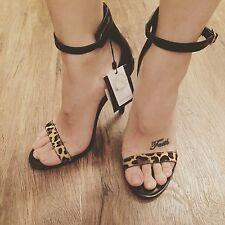 ZARA Women's High Heel Leopard  Print Sandals(Leopard , US 7.5/EUR 38)