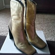 Mango Gold Leather Boots Size 7 M
