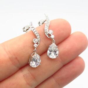 925 Sterling Silver C Z Dangling Drop Earrings