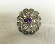 BANANA REPUBLIC JEWELRY Silver Floral Crystal Cocktail Ring $39 Sz 7 Medium