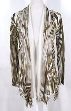 Alberto Makali Top Sz M Brown Cream Open Front Tunic Cardigan Knit Medium Womens