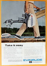 Vintage Magazine Print Ad 1965 Evinrude Outboard Take it easy