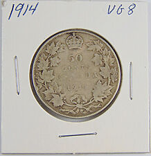 CANADA: 1914 50 Cents Silver Coin - Graded VG8