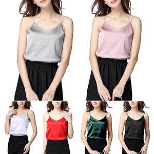 Women Satin Silk Camisole Plain Strappy Vest Top Sexy Sleeveless Blouse Tank Top