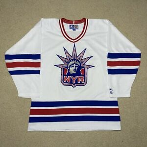 Vintage New York Rangers Starter Lady Liberty Rare White L Eastern Conference