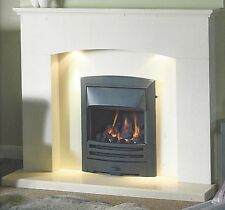"GALLERY FARO 54"" BARLEY WHITE AGGLOMERATE MARBLE MANTEL SURROUND"