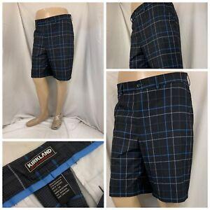 Kirkland Signature Golf Shorts 34 Black Plaid Polyester Stretch YGI W1-172