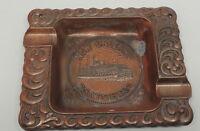 Vintage New Orleans NATCHEZ Ashtray Souvenir Copper Color Over Metal Paddle Boat