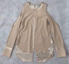 Elizabeth And James Women Top Size XS NWT Nude 100%Silk Cutout Button Down Shirt
