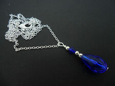 A PRETTY COBALT BLUE GLASS CRYSTAL TEARDROP NECKLACE. NEW.