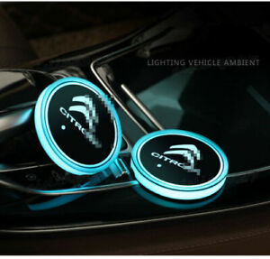 2XColourful LED Car Cup Holder Pads Mats Coaster Atmosphere Lights Logo Citroen