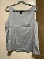 NWOT Eileen Fisher Women's Tank Top 100% Raw Silk Sleeveless Blouse Blue Sz XL