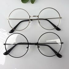 Women Vintage Large Metal Frame Clear Lens Round Circle Eye Glasses Decoration