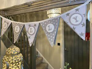 Personalised Grey Fabric Bunting Name Gift / Baby Girl Boy Nursery/Kids per flag