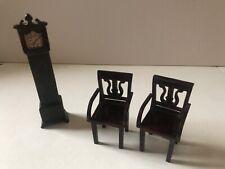 Vintage Dollhouse Furniture Plasco Chairs & Grandfather Clock