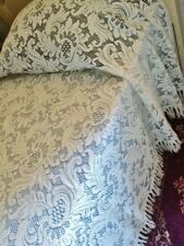 "X Large USA Made King 120"" x 132"" Cotton Blend Ecru Lace Fringe Bedspread"