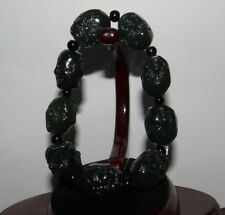 "0.8"" China Certified Nature Hetian Nephrite Jade Blessing Arhat Bangle Bracelets"
