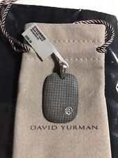 New DAVID YURMAN Silver 35mm Sky Tablet Dog Tag Pendant Enhancer $350 Stylish