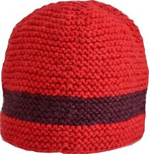 Wool Winter Cap Beanie Hat Unisex Ski Warm Handmade Fleece Knit Thermal Red