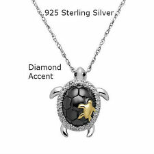 Sterling Silver Chain Diamond Accent Cute Turtle Necklace