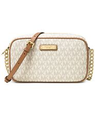 NWT MICHAEL Kors Logo Jet Set Med E/W Crossbody Shoulder Bag VANILLA $130+ AUTH!