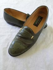 AVVENTURA made Spain modern green leather ostrich dress shoe loafers 8.5M